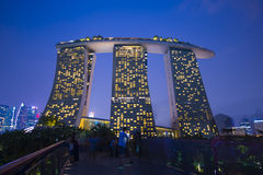 Marina bay sands, SINGAPORE OCTOBER 12, 2015: view of marina bay. Sands at twilight time, Singapore on October 12, 2015, night light Stock Photo