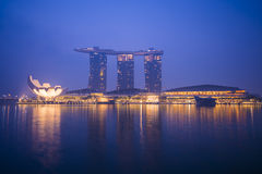 Marina bay sands, SINGAPORE OCTOBER 12, 2015: view of marina bay. Sands at twilight time, Singapore on October 12, 2015, night light Royalty Free Stock Photos