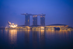Marina bay sands, SINGAPORE OCTOBER 12, 2015: view of marina bay. Sands at twilight time, Singapore on October 12, 2015, night light Royalty Free Stock Images