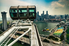 Marina Bay Sands And Singapore-Skyline angesehen von Singapur-Flieger stockfotos
