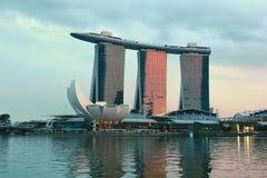 Marina bay sands singapore. Sunset resort hotel Royalty Free Stock Photography