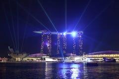 Marina Bay Sands, Singapur 31 de marzo de 2012: Demostración ligera en la última tarde Imagen de archivo