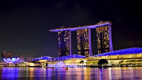 Marina Bay Sands in Singapur nachts Timelapse stock video footage