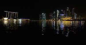 Marina Bay Sands and some office towers Royalty Free Stock Images