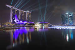 Marina Bay Sands, spectacular and futuristic lighting display Stock Photos