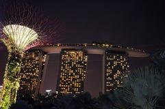 Marina Bay Sands with Super Trees Night Scene, Singapore Stock Photography