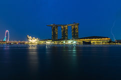 Marina bay sands with thunder lightnings Royalty Free Stock Image
