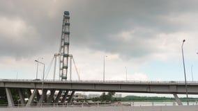 Marina bay sands traffic bridge flyer walking panorama 4k time lapse singapore. Singapore marina bay sands traffic bridge flyer walking panorama 4k time lapse stock video footage