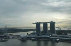 Marina Bay Sands- u. Singapur-Flieger Stockbild