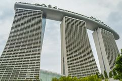 Marina Bay Sands in uprisen angle view. Marina Bay Sands, Singapore Hotel with infinite pool. The famous attractive architectural wonder in the heart of thriving Royalty Free Stock Photos