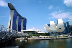 Marina Bay Sands. View of the Marina Bay Sands Hotel and Integrated Resort, the Double Helix Bridge, the Singapore Arts and the lotus-shaped Science Museum. With Royalty Free Stock Image