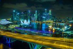 Marina Bay Sands view from Singapore Flyer Royalty Free Stock Photos