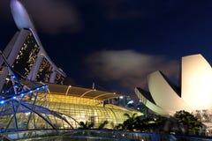 Marina Bay Sands y Art Museum moderno Fotografía de archivo