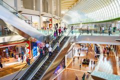 Marina Bay shopping center, Singapore. SINGAPORE - FEB 17, 2017: Shopping mall at Marina Bay Sands Resort in Singapore. It is billed as the world`s most Stock Photos