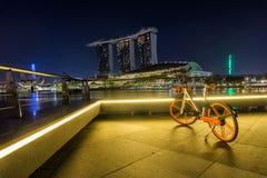 Marina Bay Singapore - April 1 2018: En cykel fungerings av ob Royaltyfri Bild