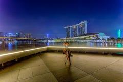 Marina Bay Singapore - April 1 2018: En cykel fungerings av ob Royaltyfria Bilder