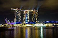 MARINA BAY,SINGAPORE - APRIL 10,2016:laser show at Marina Bay Sands Hotel in night at Singapore