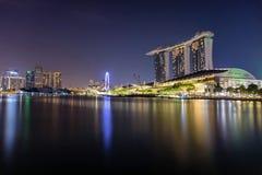 Marina Bay Singapore - April 1 2018 - sikt av Marina Bays Sand Royaltyfri Fotografi