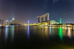 Marina Bay Singapore - April 1 2018 - sikt av Marina Bays Sand Royaltyfria Bilder
