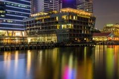 Marina Bay Singapore - April 1 2018: Sikt för Fullerton fjärdhotell Royaltyfria Foton