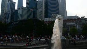 Marina Bay /Singapore- 24 December 2018: Tid schackningsperiod av vatten och mist från den Merlion statyn och några turister i Si lager videofilmer