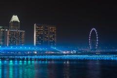 Marina Bay Singapore, floating blue balls reflect on the water Stock Image