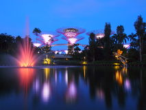 MARINA BAY ,SINGAPORE, May 30, 2015: Big Tree light show night time with the fountain in Garden By The Bay, Singapore Stock Photo