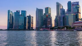 Evening in Singapore and the Backlight of Downtown. Time Lapse stock video footage