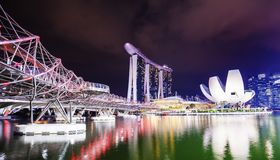 Marina Bay and Singapore night panorama Royalty Free Stock Images