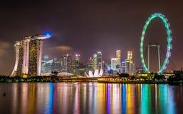 Marina Bay in Singapore at night Stock Photo