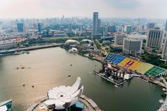 Marina Bay Singapore, på skymning Arkivbild