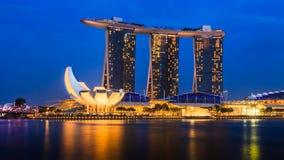 Marina Bay Singapore synvinkel, skymning Royaltyfria Foton