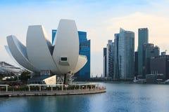 Marina Bay Singapore synvinkel, skymning Royaltyfri Fotografi