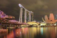 Marina bay. Singapore marina bay travel bridge stock photo