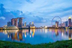 Marina Bay in Singapore at twilight.  Royalty Free Stock Image
