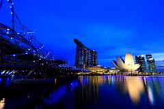 Marina Bay Singapore: Urban Scenics Arkivfoto