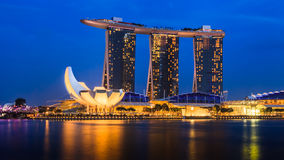 Marina Bay, Singapore viewpoint, twilight Royalty Free Stock Photos