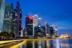 Marina Bay with the skyline of Raffles Place Stock Photo