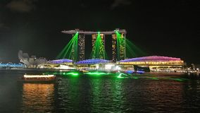 Marina Bay som är klar för laser-show Royaltyfria Bilder