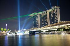 Marina bay laser show in Singapore Royalty Free Stock Image