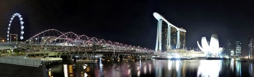 Marina Bay Urban Landscape, Panorama Stock Photo