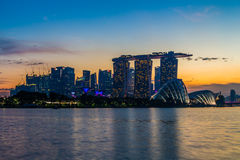 Marina Bay View del punto di riferimento della città di Singapore Immagini Stock Libere da Diritti