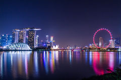 Marina Bay View del punto di riferimento della città di Singapore Immagine Stock Libera da Diritti