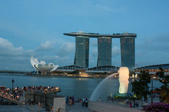Marina Bay View. Merlion, Marina Bay Sands, Art science museum, Singapore royalty free illustration