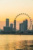 Marina Bay View of Singapore city landmark Stock Photos