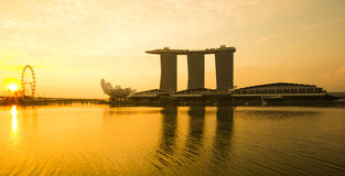 Marina Bay view with sunrise. Singapore stock photos
