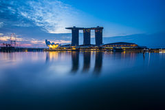 Marina Bay view with twilight. Singapore Royalty Free Stock Images