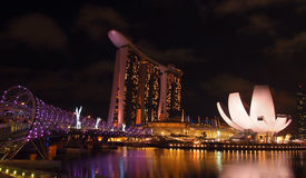 The Marina Bay waterfront, panorama view Stock Images