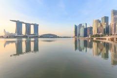 Marina Bays Cityscape e parco, Singapore immagine stock libera da diritti