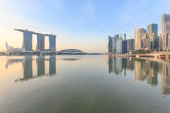 Marina Bays Cityscape and park, Singapore Royalty Free Stock Image